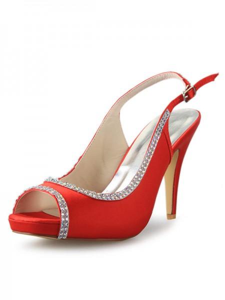 De las mujeres Satén Plataforma Talón de cono Zapato Abierto por Delante Con Estrás Red Zapatos de boda