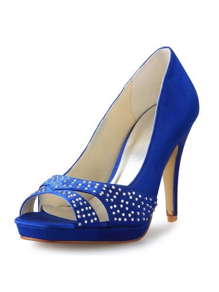 De las mujeres Talón de cono Zapato Abierto por Delante Satén Con Estrás Tacones altos