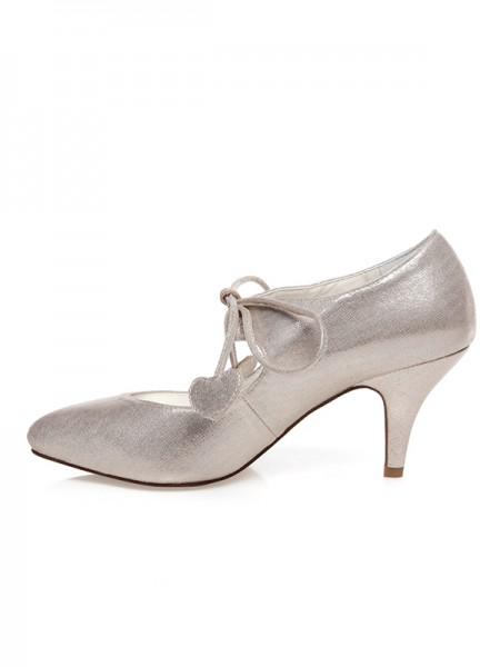 De las mujeres PU Punta Cerrada Encaje-Up Spool Heel Zapatos de boda