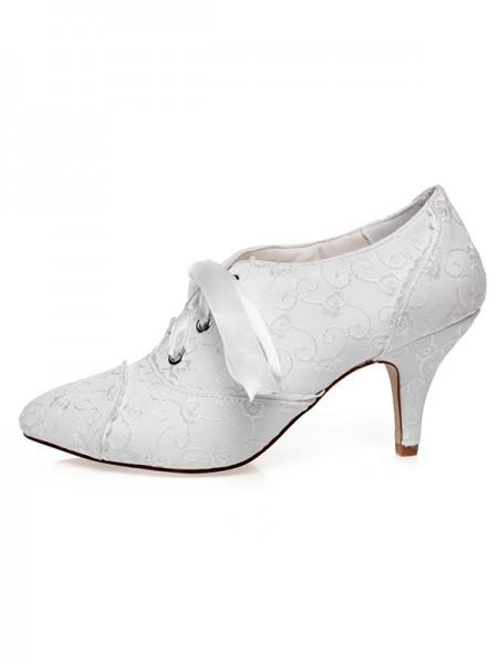 De las mujeres Satén Punta Cerrada Silk Talón de cono Zapatos de boda