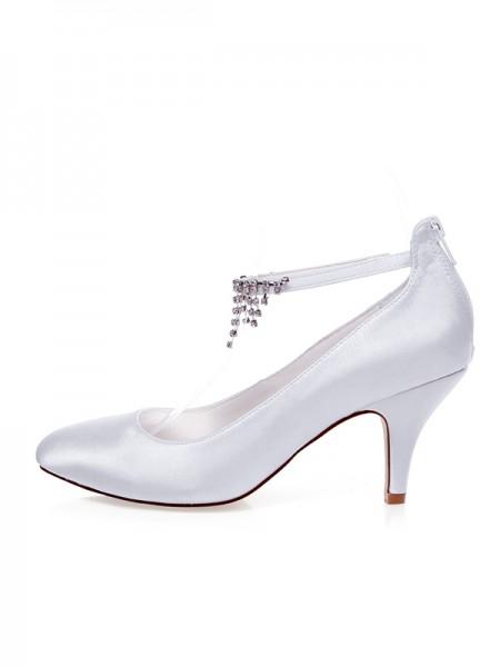 De las mujeres Satén Punta Cerrada Beading Spool Heel Zapatos de boda