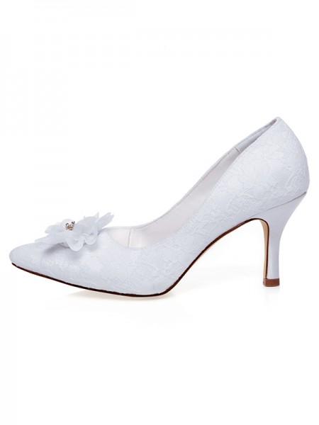 De las mujeres Satén Punta Cerrada Flores Spool Heel Zapatos de boda