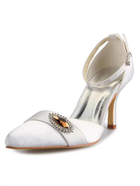 De las mujeres Mary Jane Satén Tacón de Aguja Punta Cerrada Con Estrás Blanco Zapatos de boda