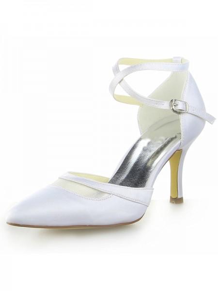 De las mujeres Blanco Satén Punta Cerrada Spool Heel Con Buckle Blanco Zapatos de boda