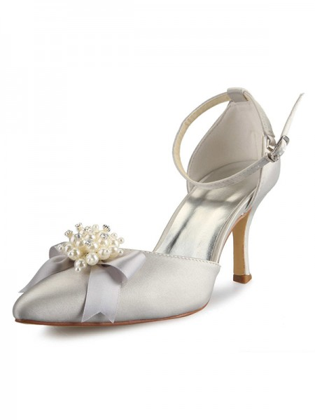 De las mujeres Spool Heel Satén Punta Cerrada Con Pearl Lazos Blanco Zapatos de boda