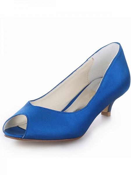 De las mujeres Kitten Heel Satén Zapato Abierto por Delante Tacones altos