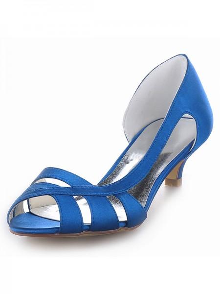 De las mujeres Satén Zapato Abierto por Delante Kitten Heel Zapatos de las sandalias