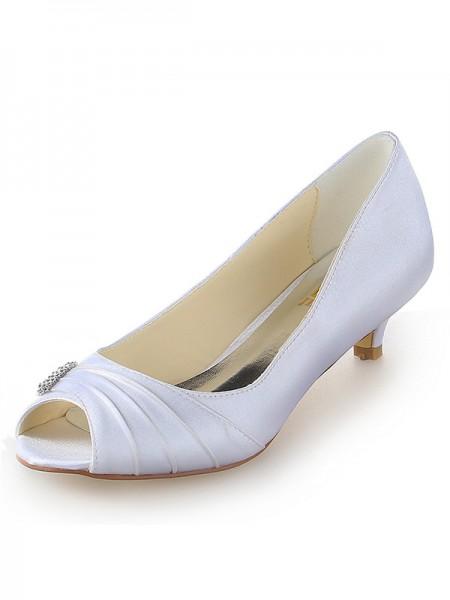 De las mujeres Satén Zapato Abierto por Delante Kitten Heel Con Estrás Blanco Zapatos de boda