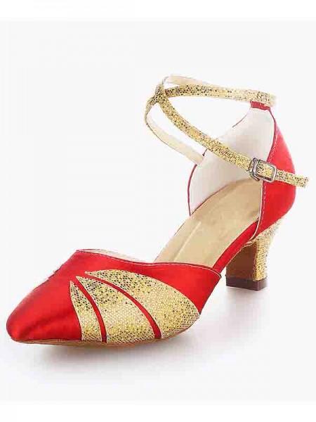 De las mujeres Satén Punta Cerrada Tacón grueso Buckle Sparkling Glitter Zapatos de baile