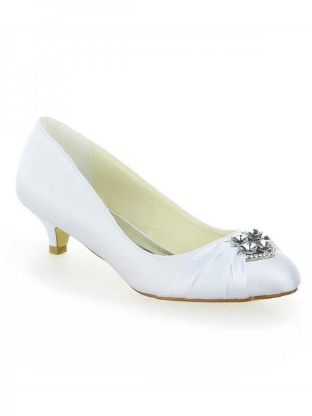 De las mujeres Satén Encaje Plataforma Punta Cerrada Con Lazos Kitten Heel Blanco Zapatos de boda