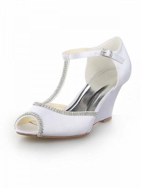 De las mujeres Zapato Abierto por Delante T-Strap Con Estrás Satén Talón de cuña Blanco Zapatos de boda