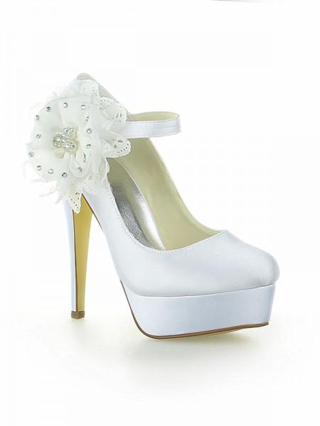 De las mujeres Satén Plataforma Punta Cerrada Con Flores Tacón de Aguja Blanco Zapatos de boda