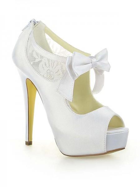 De las mujeres Satén Encaje Plataforma Zapato Abierto por Delante Con Lazos Tacón de Aguja Blanco Zapatos de boda