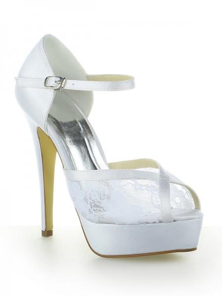 De las mujeres Satén Encaje Plataforma Zapato Abierto por Delante Con Buckle Tacón de Aguja Blanco Zapatos de boda