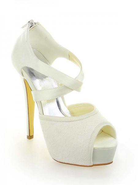 De las mujeres Satén Encaje Plataforma Zapato Abierto por Delante Tacón de Aguja Con Zipper Blanco Zapatos de boda