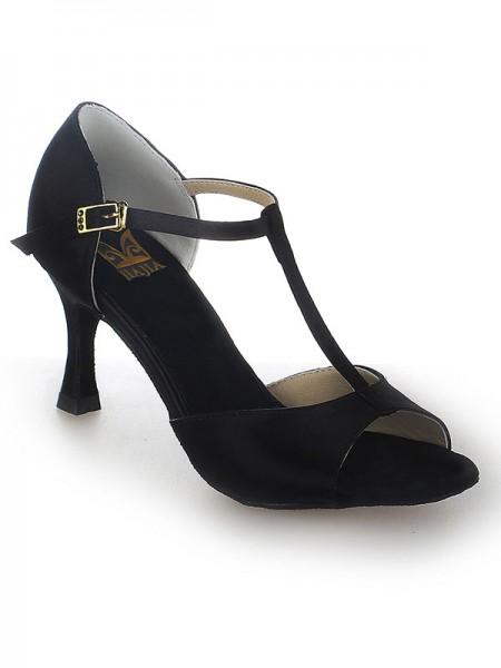 De las mujeres Satén Tacón de Aguja Zapato Abierto por Delante Buckle Zapatos de baile
