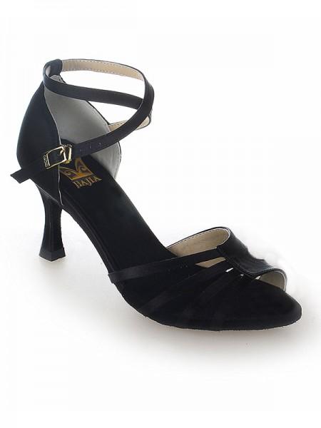 De las mujeres Zapato Abierto por Delante Satén Tacón de Aguja Buckle Zapatos de baile