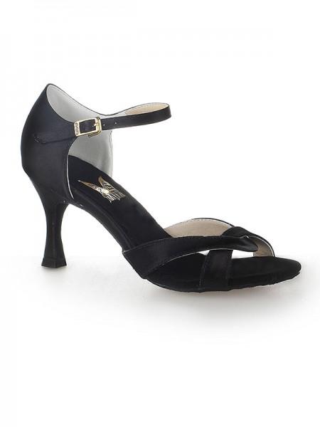 De las mujeres Satén Zapato Abierto por Delante Tacón de Aguja Buckle Zapatos de baile