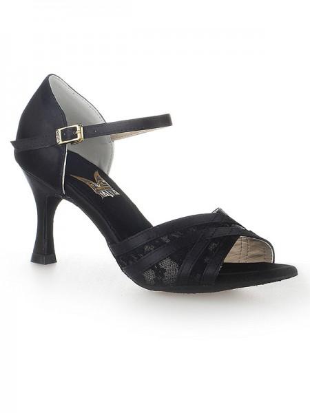 De las mujeres Zapato Abierto por Delante Tacón de Aguja Satén Buckle Zapatos de baile