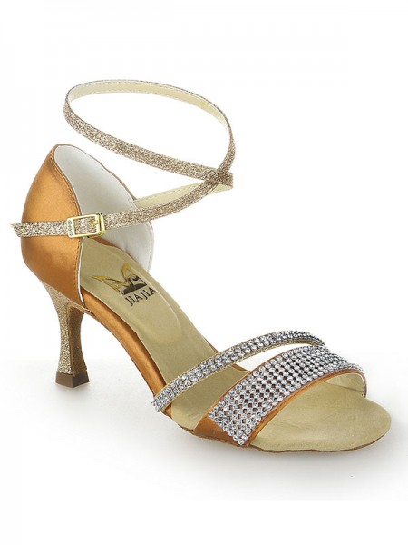 De las mujeres Tacón de Aguja Zapato Abierto por Delante Satén Buckle Zapatos de baile