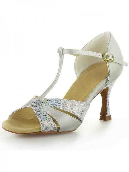 De las mujeres Satén Tacón de Aguja Zapato Abierto por Delante Buckle Sparkling Glitter Zapatos de baile