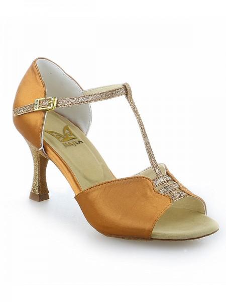 De las mujeres Tacón de Aguja Buckle Zapato Abierto por Delante Satén Zapatos de baile