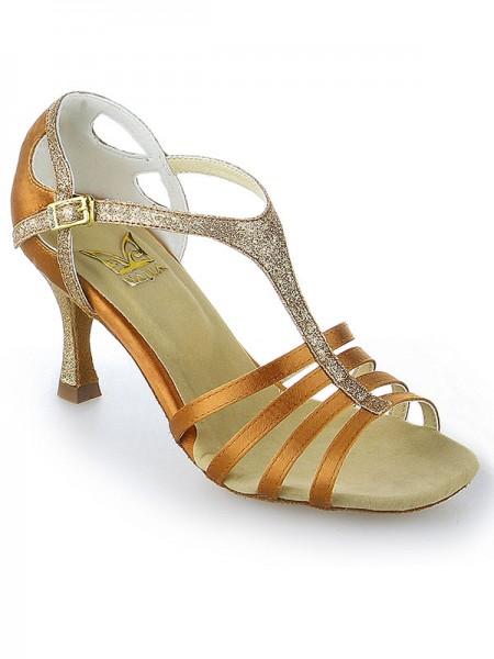 De las mujeres Zapato Abierto por Delante Buckle Tacón de Aguja Satén Zapatos de baile
