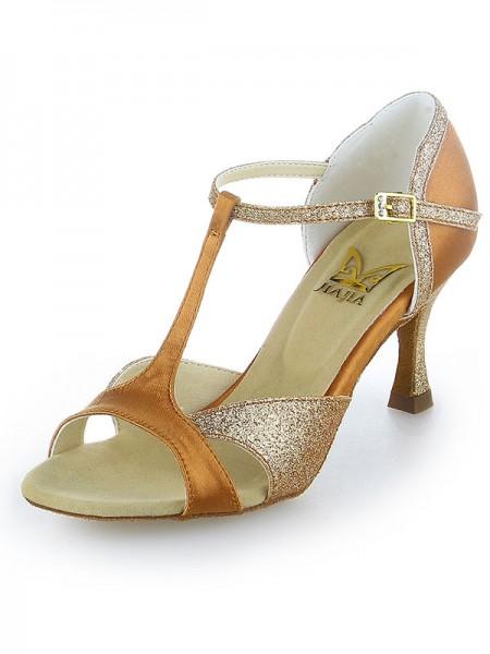 De las mujeres Satén Zapato Abierto por Delante Sparkling Glitter Tacón de Aguja Zapatos de baile