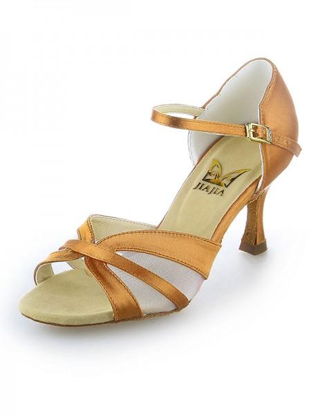 De las mujeres Satén Zapato Abierto por Delante Buckle Tacón de Aguja Zapatos de baile