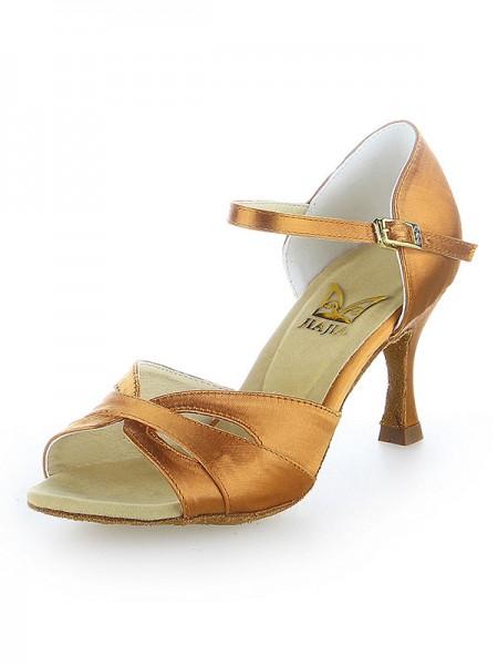 De las mujeres Zapato Abierto por Delante Satén Buckle Tacón de Aguja Zapatos de baile