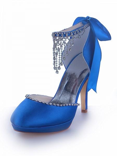 De las mujeres Mary Jane Satén Plataforma Punta Cerrada Talón de cono Con Estrás Zapatos de las plataformas