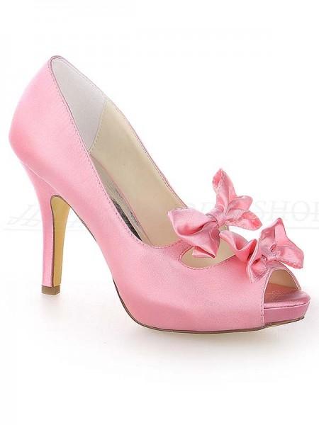 De las mujeres Satén Zapato Abierto por Delante Tacón de Aguja Plataforma Con Lazos Watermelon Zapatos de boda