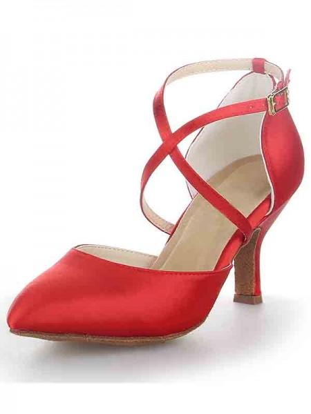 De las mujeres Spool Heel Satén Punta Cerrada Con Buckle Sandal Tacones altos