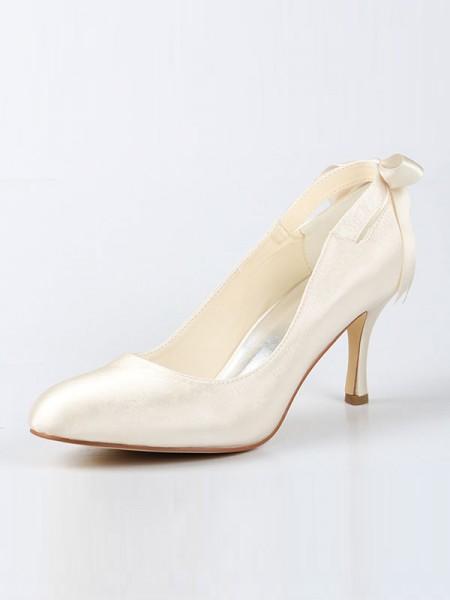 De las mujeres Satén Punta Cerrada Spool Heel Con Lazos Ivory Zapatos de boda