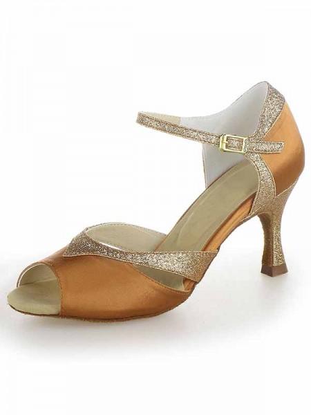 De las mujeres Satén Zapato Abierto por Delante Tacón de Aguja Sparkling Glitter Zapatos de baile