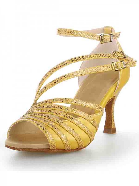 De las mujeres Zapato Abierto por Delante Tacón de Aguja Satén Sparkling Glitter Zapatos de baile