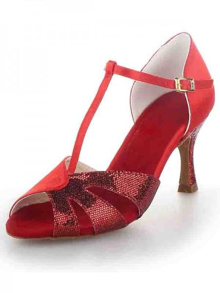 De las mujeres T-Strap Zapato Abierto por Delante Tacón de Aguja Satén Sparkling Glitter Zapatos de baile