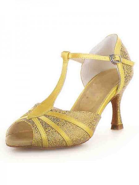 De las mujeres Zapato Abierto por Delante Tacón de Aguja Satén Buckle Sparkling Glitter Zapatos de baile