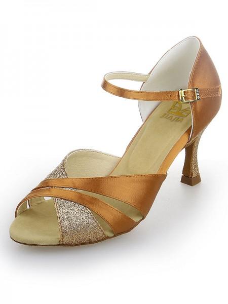 De las mujeres Zapato Abierto por Delante Satén Tacón de Aguja Sparkling Glitter Zapatos de baile