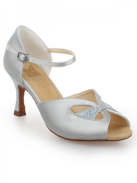 De las mujeres Zapato Abierto por Delante Con Buckle Satén Tacón de Aguja Zapatos de baile