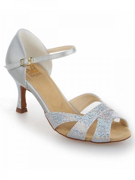 De las mujeres Satén Tacón de Aguja Zapato Abierto por Delante Con Sparkling Glitter Zapatos de baile