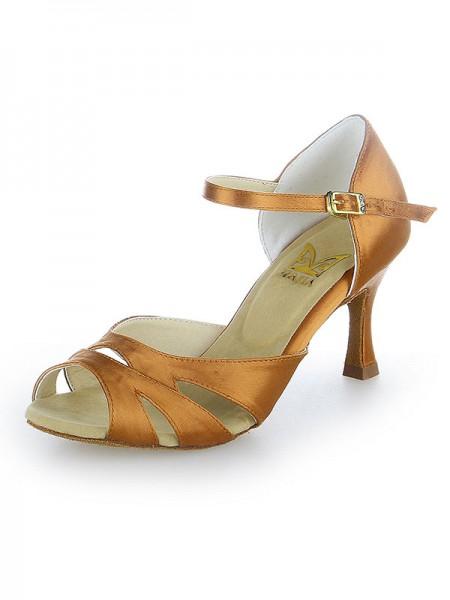 De las mujeres Zapato Abierto por Delante Buckle Satén Tacón de Aguja Zapatos de baile