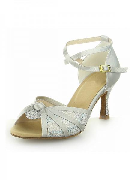 De las mujeres Zapato Abierto por Delante Con Sparkling Glitter Satén Tacón de Aguja Zapatos de baile