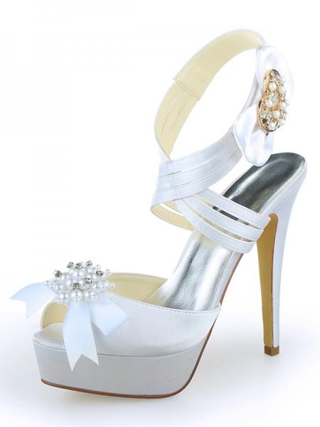 De las mujeres Satén Zapato Abierto por Delante Plataforma Tacón de Aguja Con Pearl Blanco Zapatos de boda