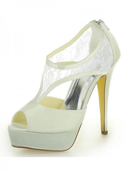De las mujeres Tacón de Aguja Satén Plataforma Zapato Abierto por Delante Con Zipper Ivory Zapatos de boda