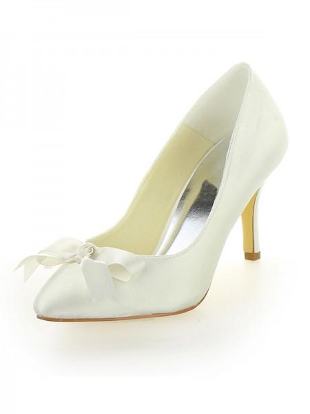 De las mujeres Tacón de Aguja Satén Punta Cerrada Con Lazos Ivory Zapatos de boda