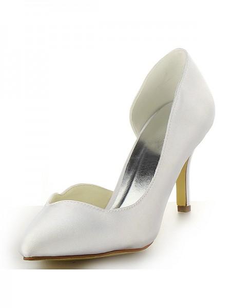 De las mujeres Satén Punta Cerrada Tacón de Aguja Blanco Zapatos de boda