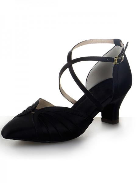 De las mujeres Punta Cerrada Satén Tacón grueso Buckle Zapatos de baile