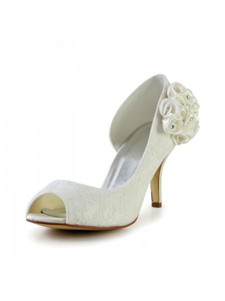 De las mujeres Trendy Tacón de Aguja Satén Ivory Zapatos de boda Con Flores
