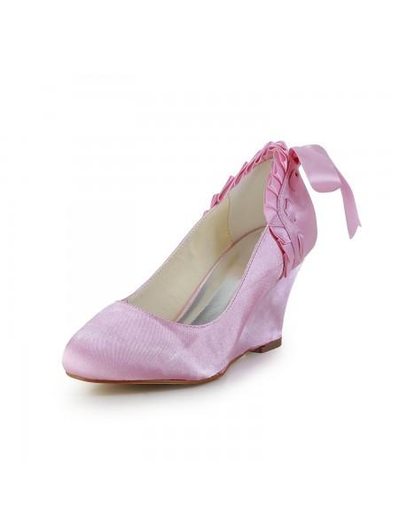 De las mujeres Unique Satén Talón de cuña Punta Cerrada Pink Zapatos de boda